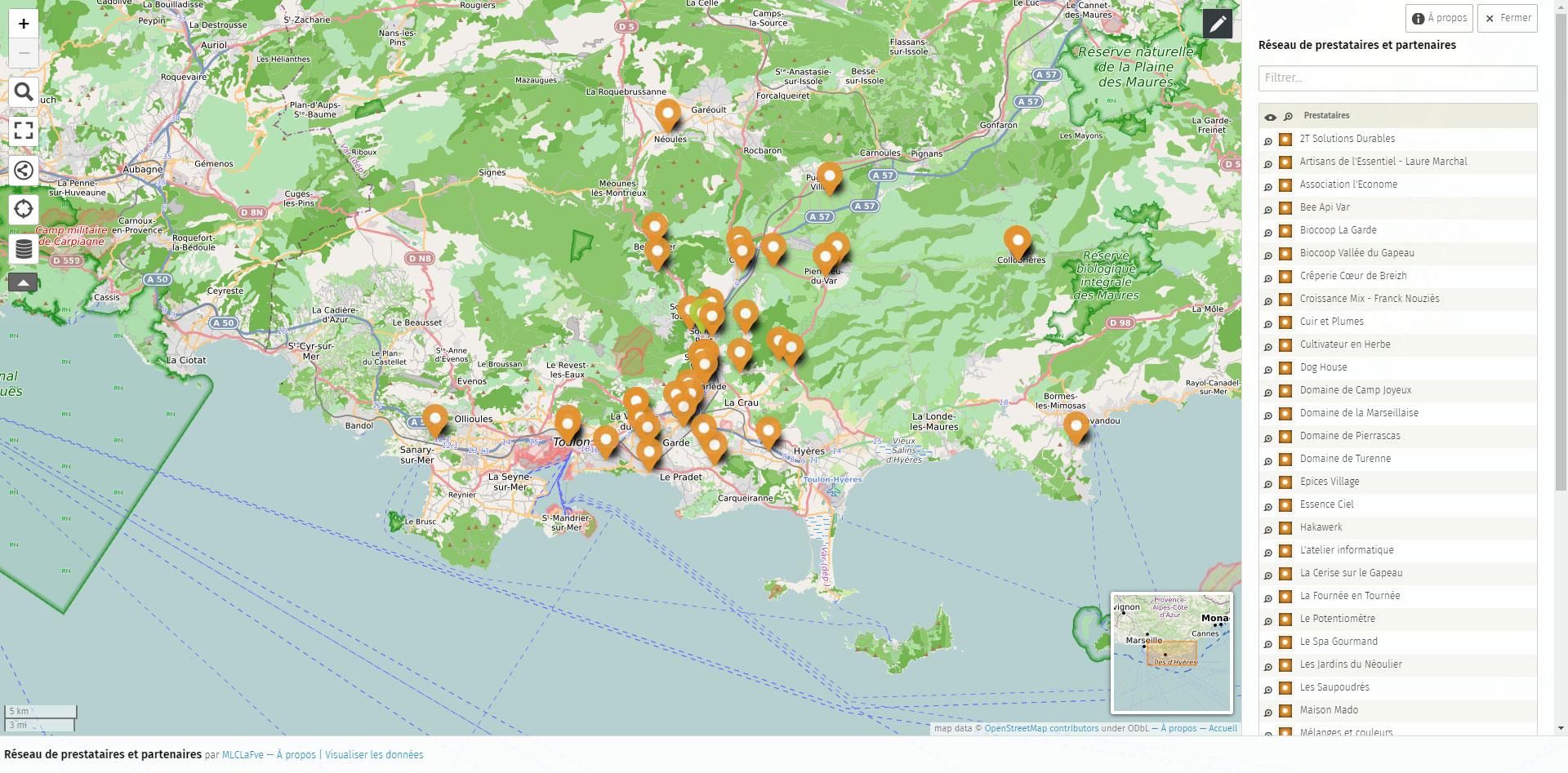 Carte du réseau de prestataires de La Fève